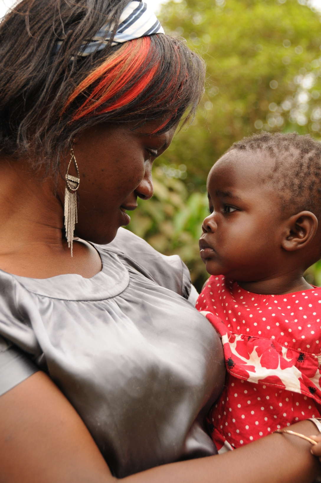 This is Phiona with baby Kira when we were in Uganda for our adoption.