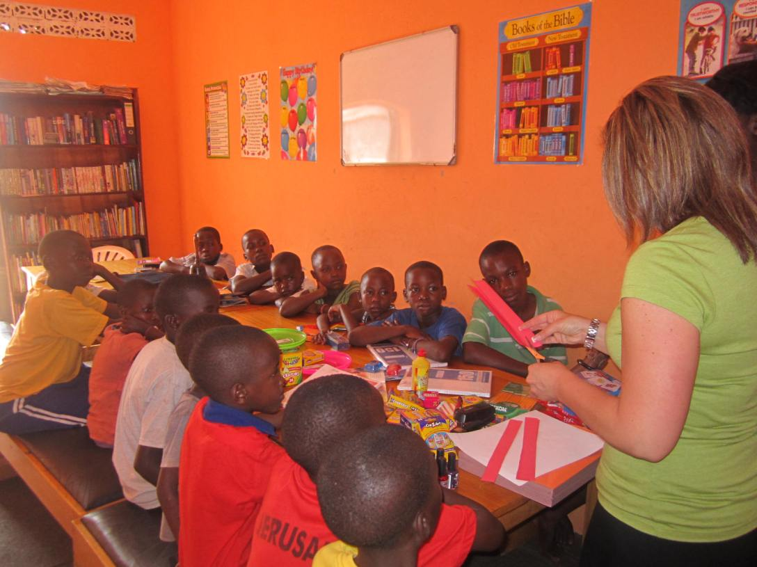 This is our friend Megan teaching in our Kirabo Seeds home in Uganda.