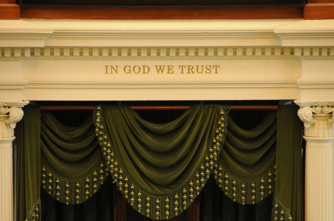 "this is above the senate...I am sad to believe it's not true any more that our country can state ""in God we trust"" with the way we have gone..."