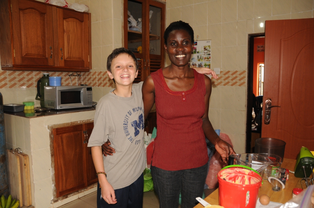 This is Jack with Auntie Julie in her kitchen. Oh my she is the best cook!