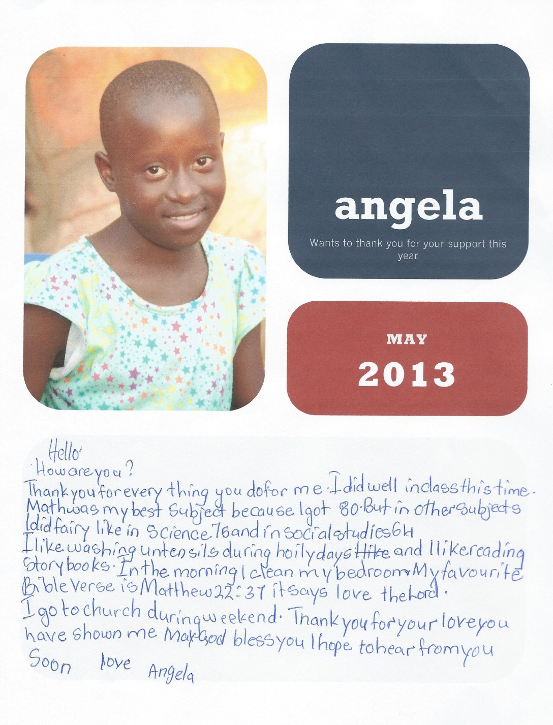 This is a sample letter of Angela writing to a sponsor.
