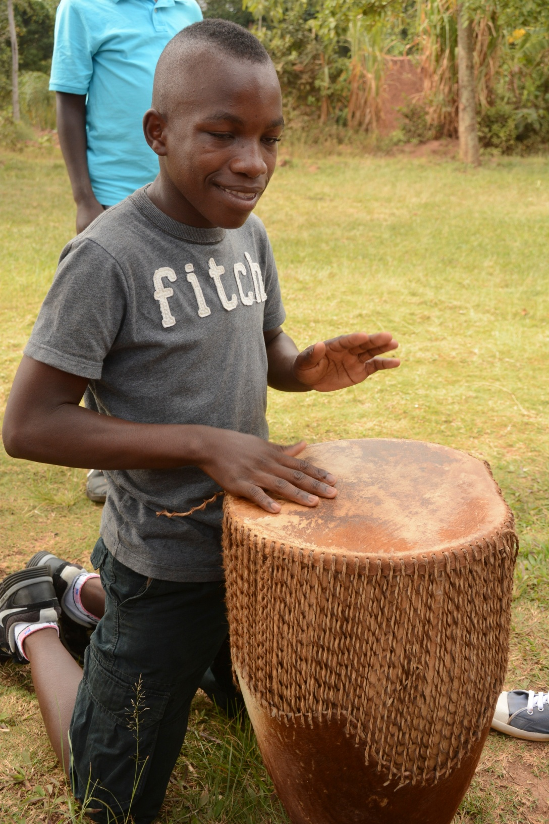 Ronnie leading worship with the drum.