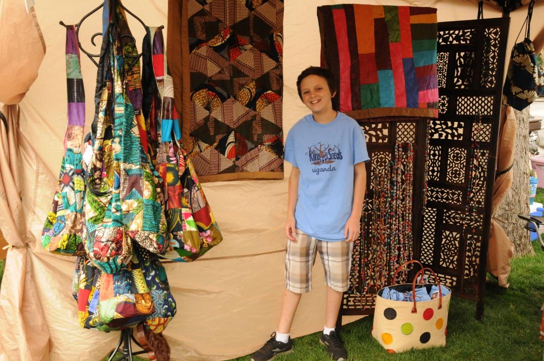 Jack selling goods for Kirabo Seeds