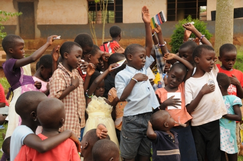 These children were praying to accept Christ.