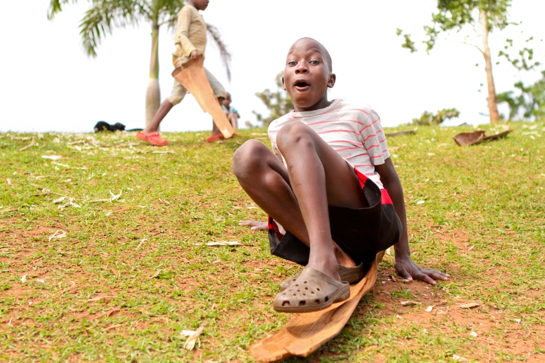 this is sledding in Uganda…on a tree bark!