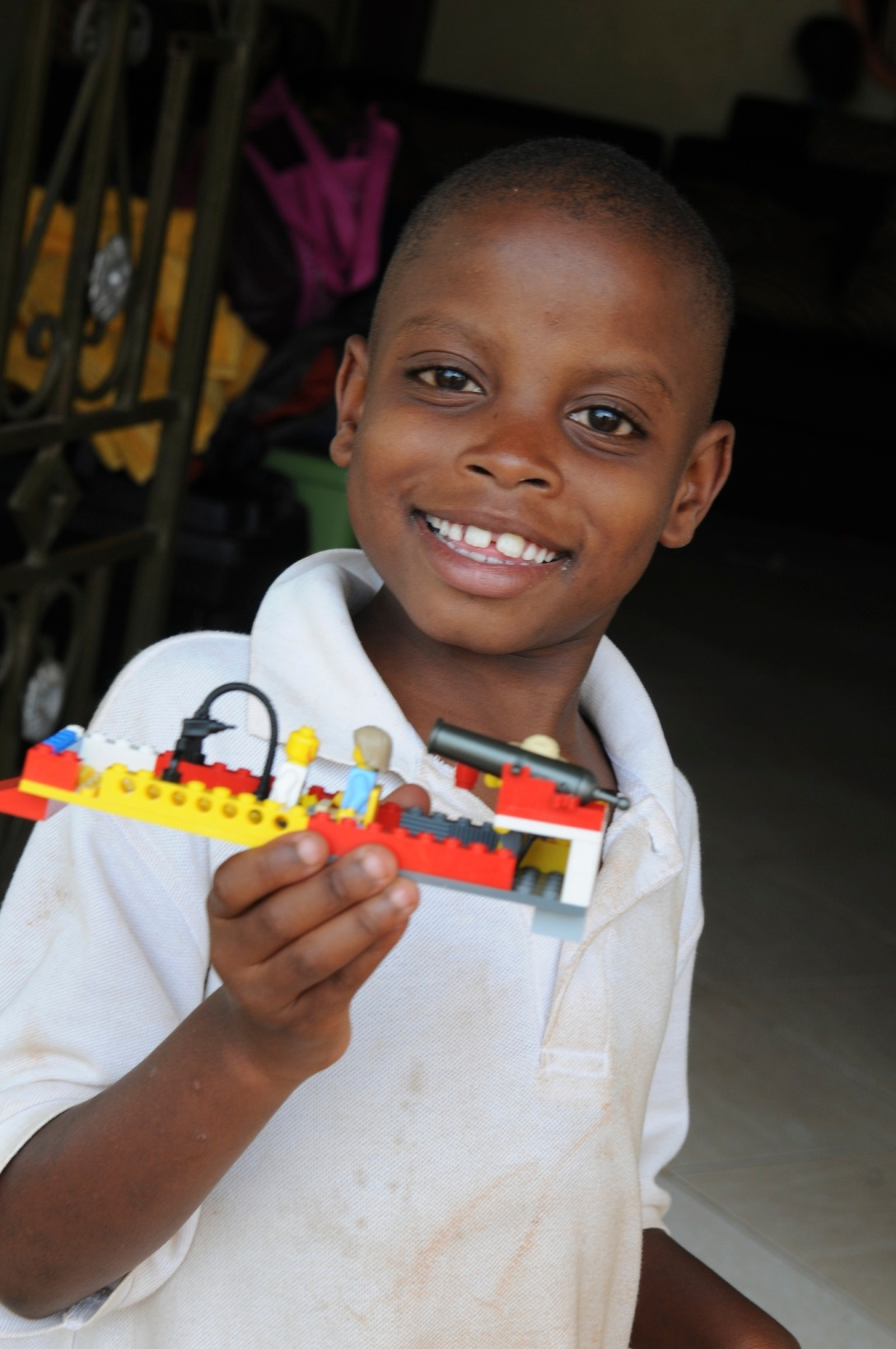 lawrence with the legos shared by Craig's sister, Amy!