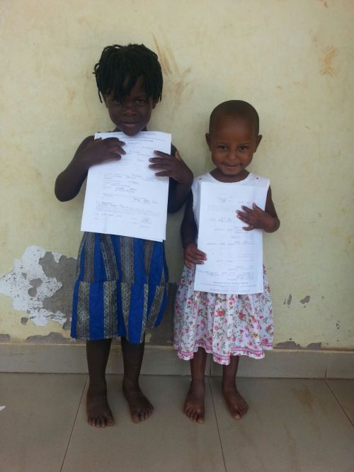 rhonah and justine started school. Can you believe they are the same age? Good nutrition makes a big difference. Justine will catch up.
