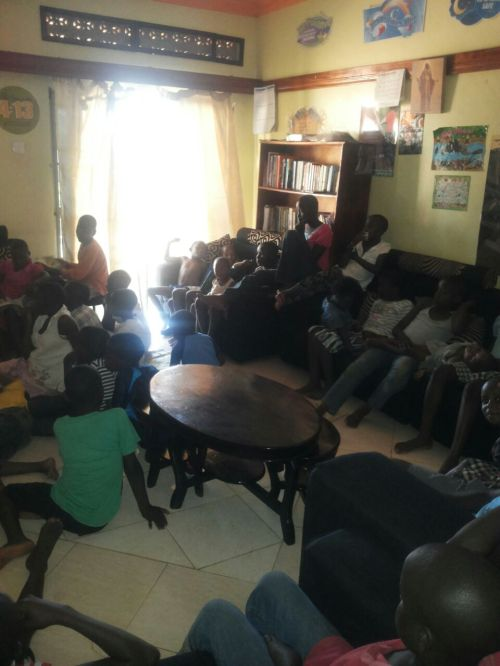 this picture came over whatsapp from Kenny. It's hard to see but the kids are all enjoying a movie screened onto a wall during an outreach