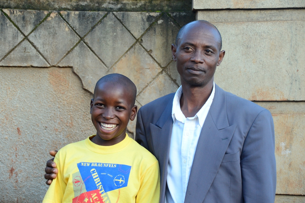 Peter with his uncle. It was the first time Peter's uncle joined the Kirabo Seeds celebrations and it meant so much to Peter.